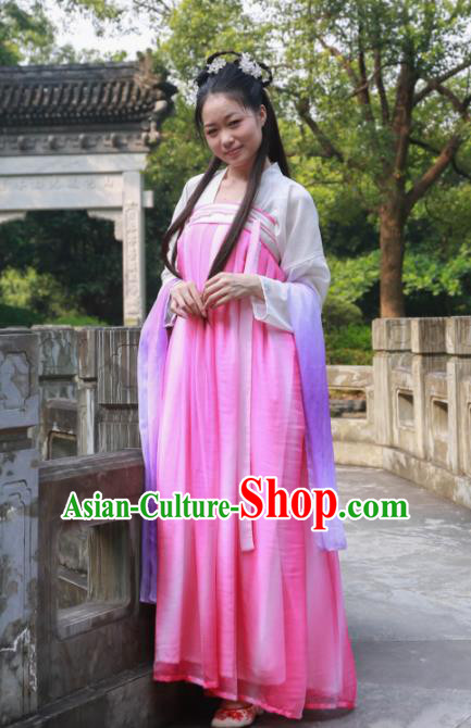 Traditional Ancient Chinese Princess Hanfu Costume, Asian China Tang Dynasty Palace Lady Rosy Dress Clothing for Women