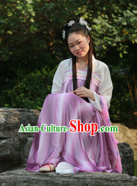 Traditional Ancient Chinese Princess Hanfu Costume, Asian China Tang Dynasty Palace Lady Purple Dress Clothing for Women