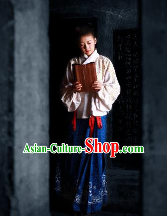Traditional Chinese Ancient Palace Lady Costume Blouse and Blue Skirt , Asian China Ming Dynasty Imperial Concubine Hanfu Dress Clothing for Women