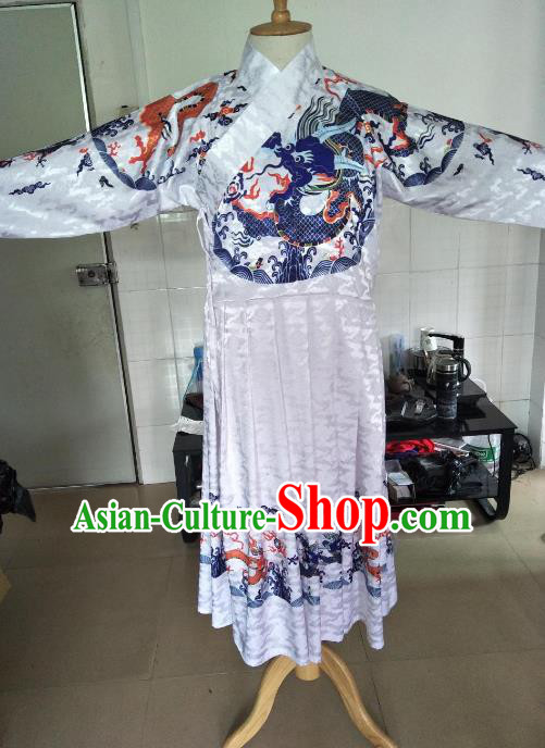 Traditional Ancient Chinese Swordsman Hanfu Costume White Embroidered Robe, Asian China Ming Dynasty Emperor Clothing for Men