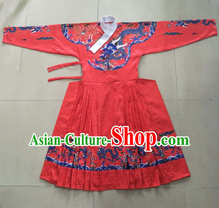 Traditional Ancient Chinese Swordsman Hanfu Costume Red Embroidered Robe, Asian China Ming Dynasty Emperor Clothing for Men
