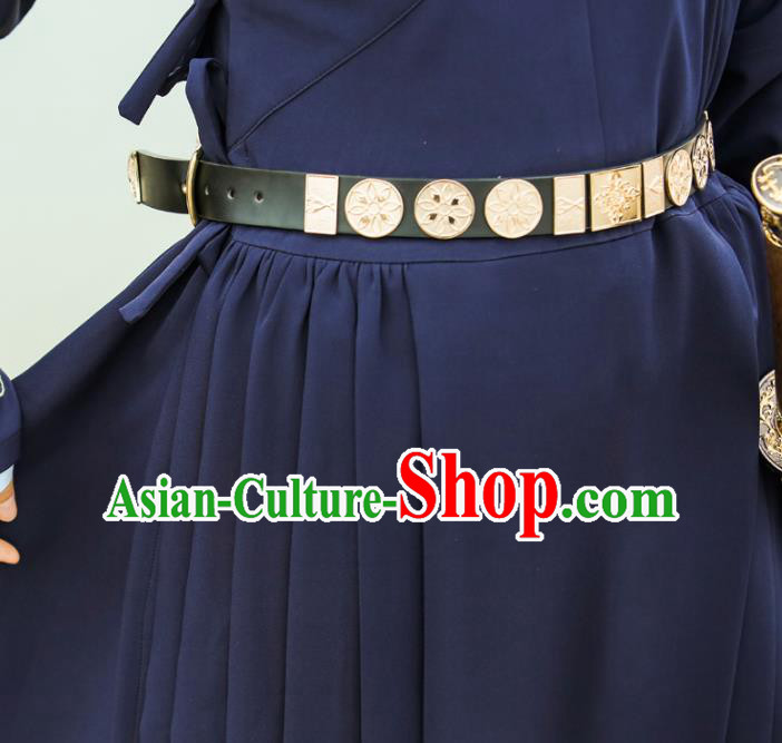 Traditional Ancient Chinese Swordsman Belts, Asian China Ming Dynasty Imperial Guards Leather Waistband for Men