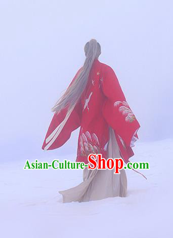 Traditional Ancient Chinese Hanfu Embroidered Red Cloak Costume, Asian China Han Dynasty Imperial Prince Cardigan Clothing for Men