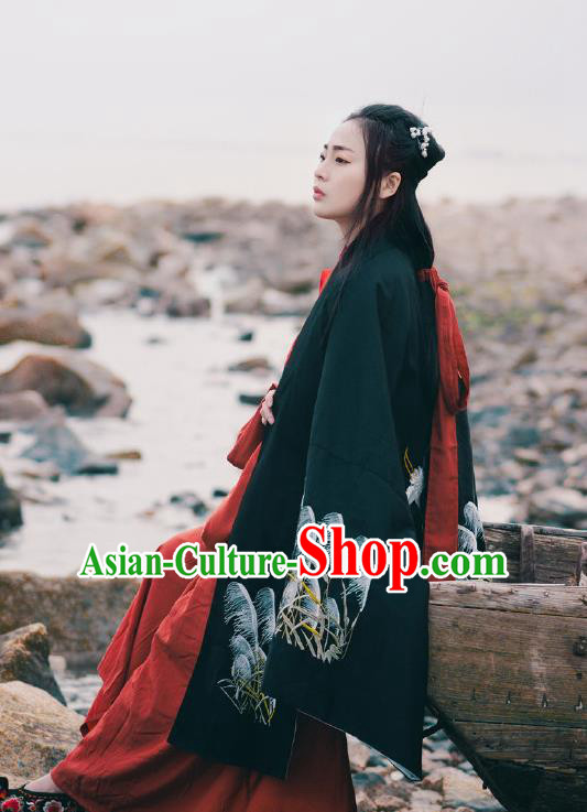 Traditional Ancient Chinese Hanfu Embroidered Black Cloak Costume, Asian China Han Dynasty Imperial Prince Cardigan Clothing for Men