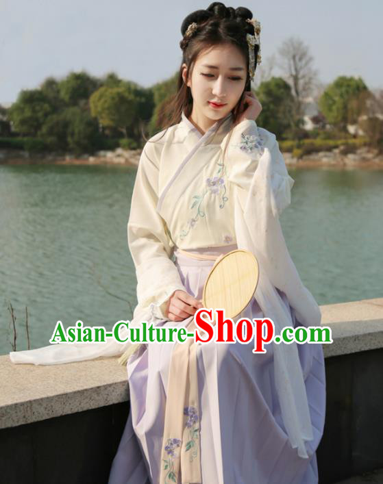 Traditional Ancient Chinese Young Lady Embroidered Costume, Asian China Song Dynasty Imperial Princess Hanfu Clothing for Women