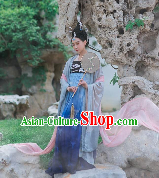 Traditional Ancient Chinese Imperial Consort Costume, Elegant Hanfu Clothing Chinese Tang Dynasty Embroidered Blue Skirt Clothing for Women