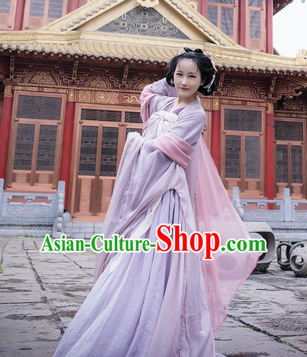 Traditional Ancient Chinese Palace Lady Hanfu Costume Blouse and Skirt, Asian China Ming Dynasty Princess Clothing for Women