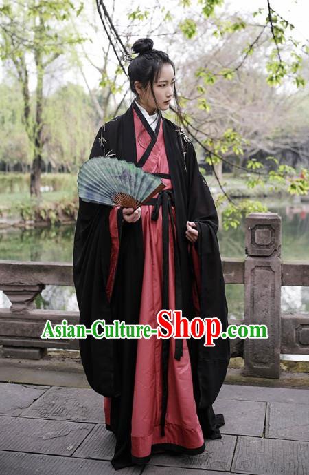 Traditional Ancient Chinese Swordsman Hanfu Costume Embroidered Black Cloak and Robe, Asian China Han Dynasty Scholar Clothing for Men