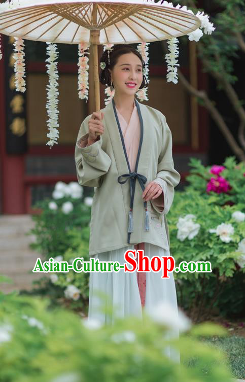 Traditional Chinese Ancient Palace Lady Embroidered Green BeiZi Costume, Asian China Song Dynasty Princess Clothing Complete Set