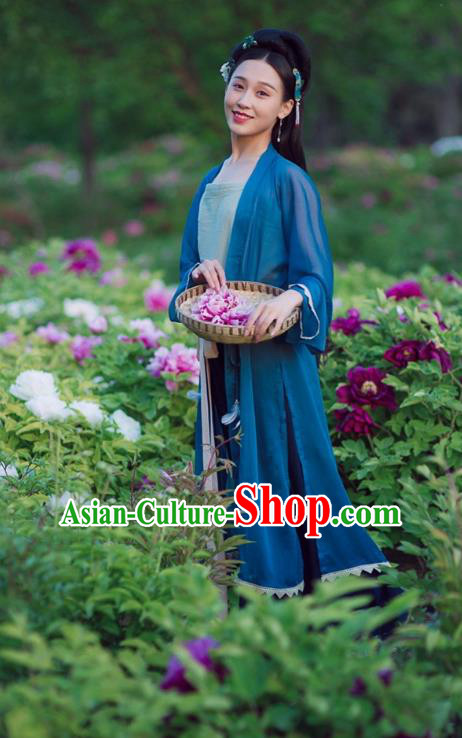 Traditional Chinese Ancient Palace Lady Blue BeiZi, Asian China Song Dynasty Cardigan Clothing for Women