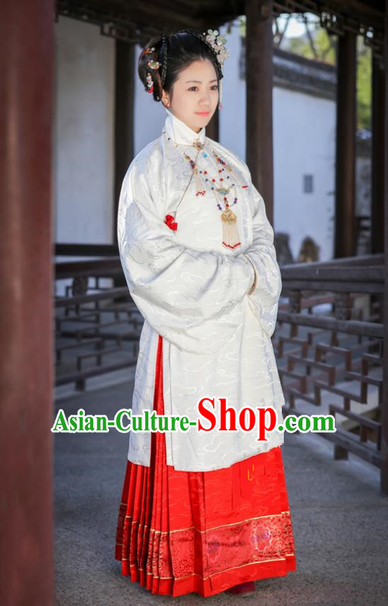Traditional Chinese Ancient Costume Princess Embroidered White Blouse and Skirt, Asian China Ming Dynasty Palace Lady Hanfu Clothing for Women