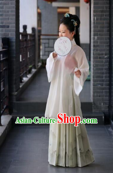 Traditional Chinese Ancient Costume Princess White Blouse and Landscape Painting Skirt, Asian China Ming Dynasty Palace Lady Hanfu Clothing for Women