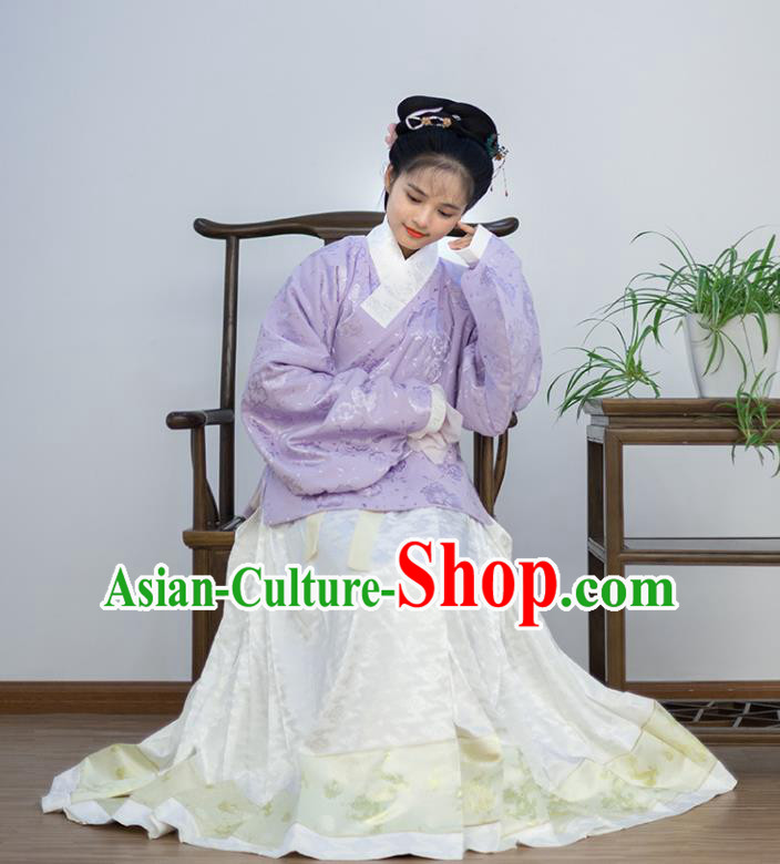 Traditional Chinese Ancient Costume Palace Lady Embroidered Purple Blouse and Skirt, Asian China Ming Dynasty Princess Hanfu Dress Clothing for Women
