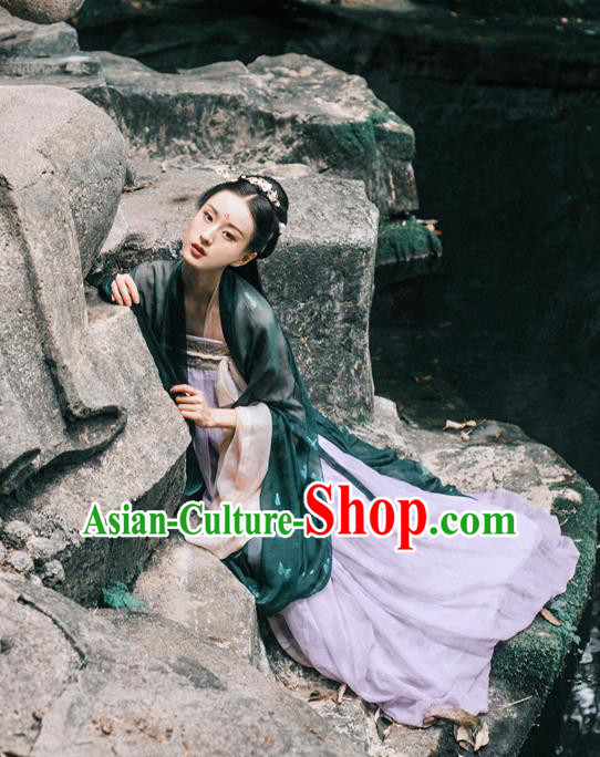 Traditional Chinese Ancient Costume Imperial Concubine Green Cardigan and Skirt, Asian China Tang Dynasty Palace Lady Clothing for Women