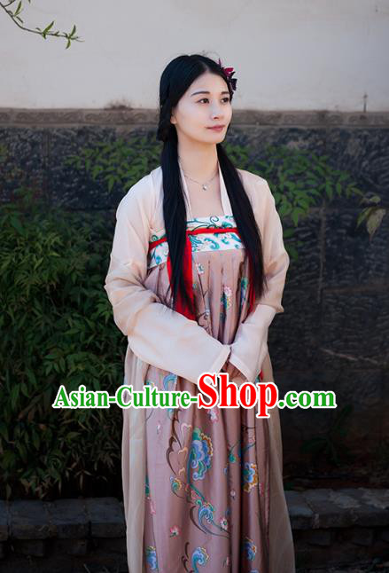 Traditional Chinese Ancient Costume Imperial Concubine Slip Skirt, Asian China Tang Dynasty Palace Lady Clothing for Women