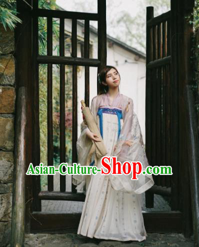 Traditional Chinese Ancient Costume Palace Lady Embroidered Blouse and Slip Skirt, Asian China Tang Dynasty Princess Hanfu Clothing for Women