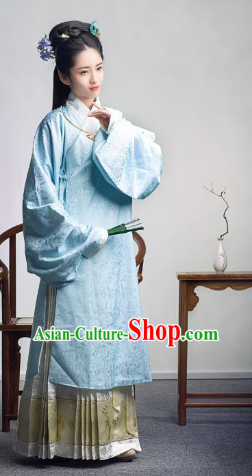 Traditional Chinese Ancient Costume Princess Embroidered Blue Blouse and Skirt, Asian China Ming Dynasty Palace Lady Hanfu Clothing for Women