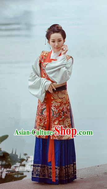 Traditional Chinese Ancient Costume Imperial Concubine Embroidered Vest Blouse and Skirt, Asian China Ming Dynasty Nobility Lady Hanfu Clothing for Women