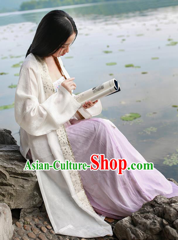 Traditional Chinese Ancient Costume Imperial Concubine White Embroidered Beizi Complete Set, Asian China Song Dynasty Palace Lady Clothing for Women