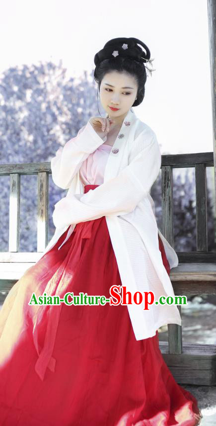 Traditional Chinese Ancient Costume Princess Embroidered BeiZi and Skirt, Asian China Song Dynasty Nobility Lady Hanfu Clothing for Women