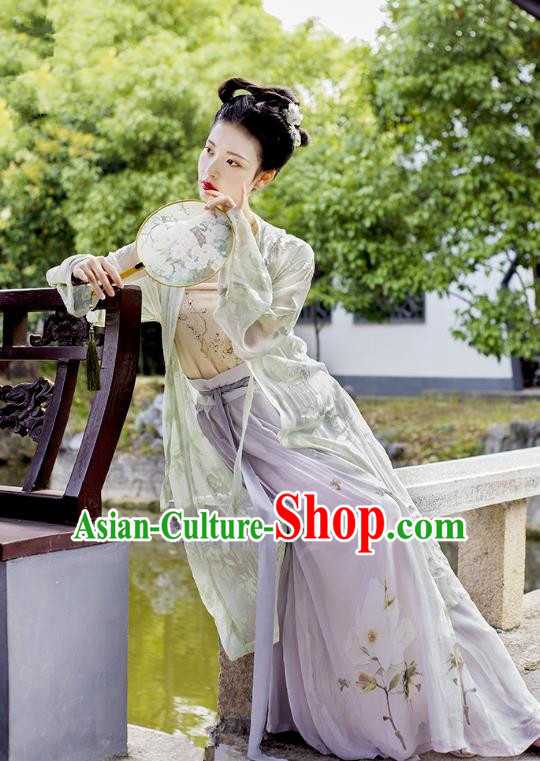 Traditional Chinese Ancient Costume Imperial Concubine Green Embroidered Beizi Complete Set, Asian China Song Dynasty Palace Lady Clothing for Women