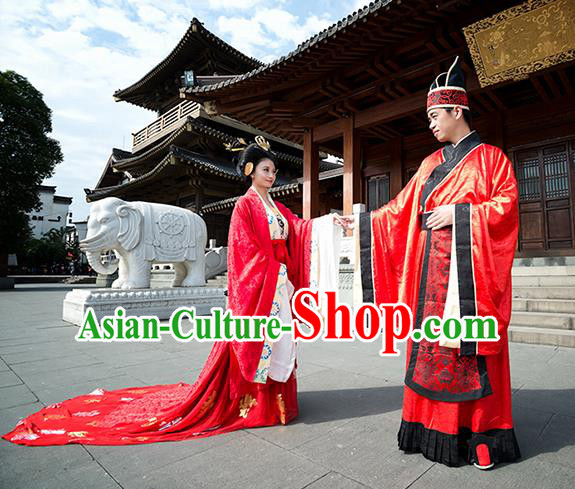 Traditional Chinese Ancient Wedding Costume Complete Set, Asian China Tang Dynasty Hanfu Bride and Bridegroom Red Clothing