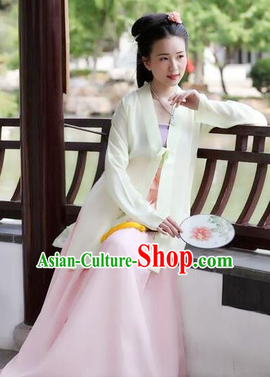 Traditional Chinese Ancient Costume Princess Light Yellow Silk BeiZi and Skirt, Asian China Song Dynasty Palace Lady Hanfu Clothing for Women