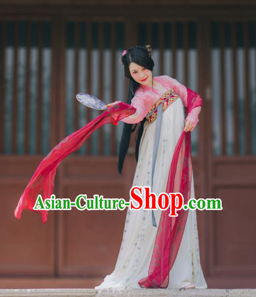 Traditional Chinese Ancient Costume Princess Blouse and Slip Skirt, Asian China Tang Dynasty Palace Lady Hanfu Clothing for Women
