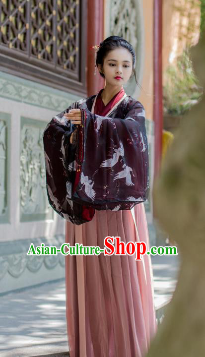 Traditional Chinese Ancient Costume Princess Blouse and Slip Skirt, Asian China Jin Dynasty Palace Lady Hanfu Clothing for Women