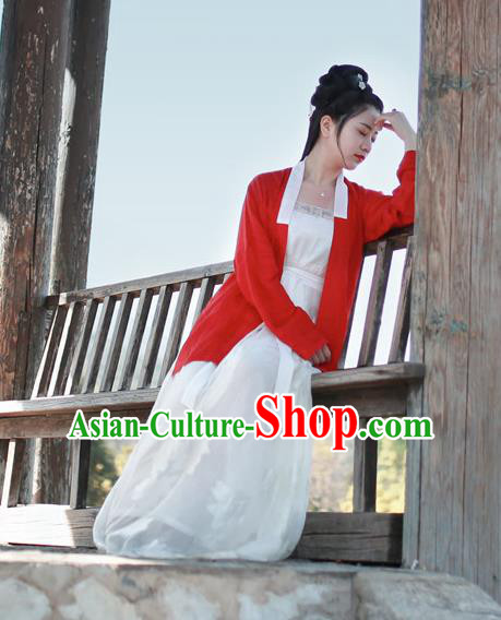 Traditional Chinese Song Dynasty Imperial Concubine Costume, Asian China Ancient Palace Lady Hanfu Red BeiZi Clothing for Women