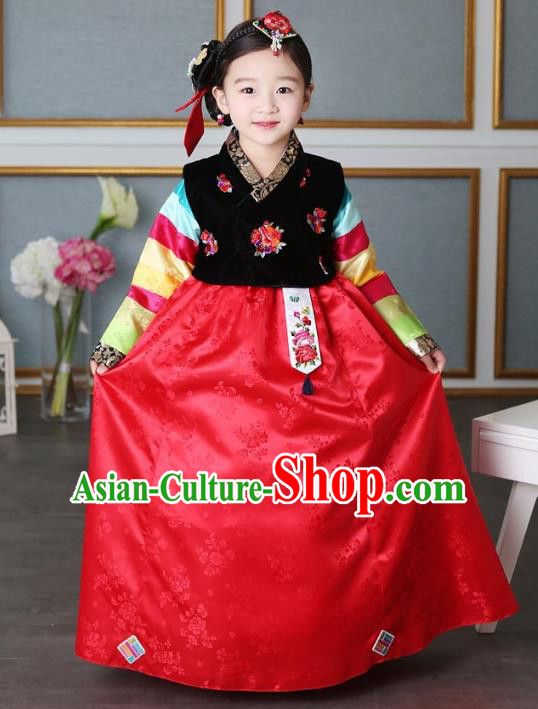 Traditional Korean Handmade Formal Occasions Embroidered Baby Princess Hanbok Red Dress Clothing for Girls