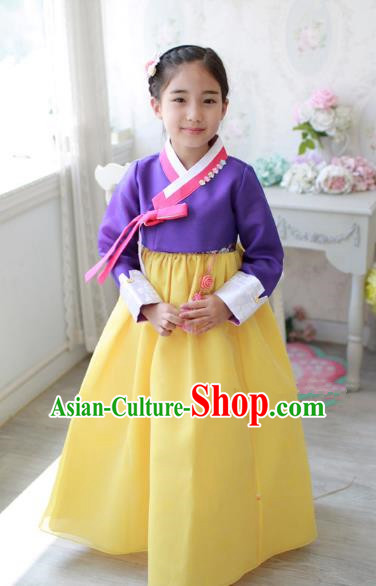 Traditional Korean Handmade Formal Occasions Embroidered Baby Brithday Hanbok Yellow Dress Clothing for Girls