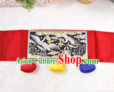 Traditional Korean Accessories Embroidered Crane Waist Belts, Asian Korean Fashion Waistband Decorations for Kids