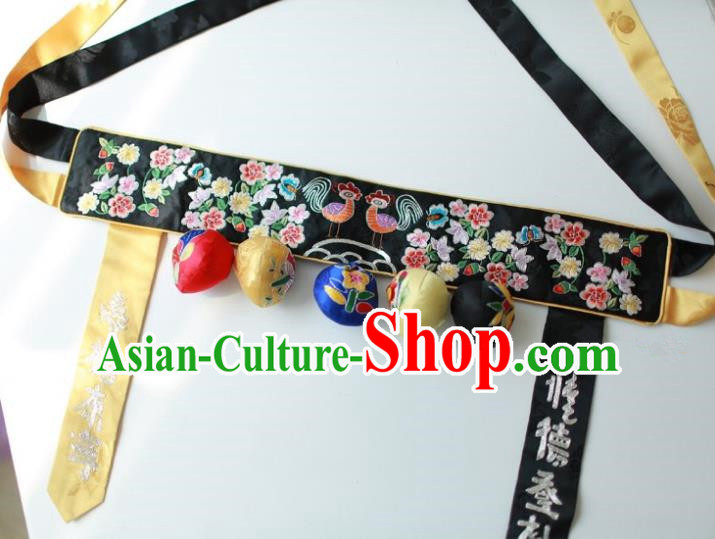 Traditional Korean Accessories Embroidered Black Waist Belts, Asian Korean Fashion Wedding Tassel Waistband for Kids