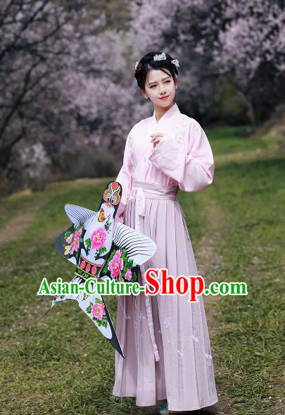 Asian China Ming Dynasty Young Lady Costume Complete Set, Chinese Ancient Nobility Embroidered Clothing for Women