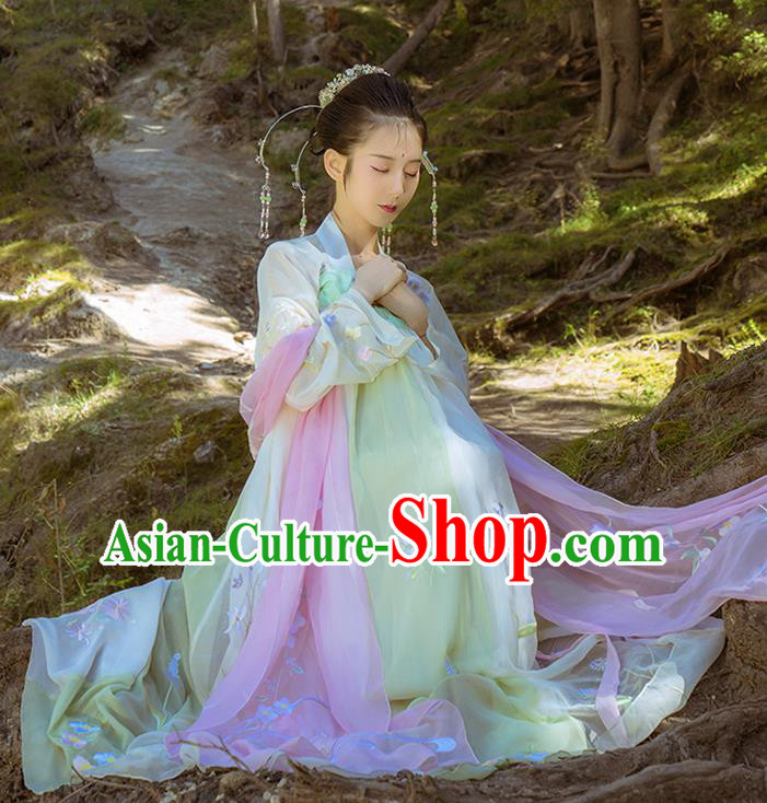 Asian China Tang Dynasty Imperial Concubine Dance Costume, Chinese Ancient Nobility Lady Fairy Embroidered Clothing for Women