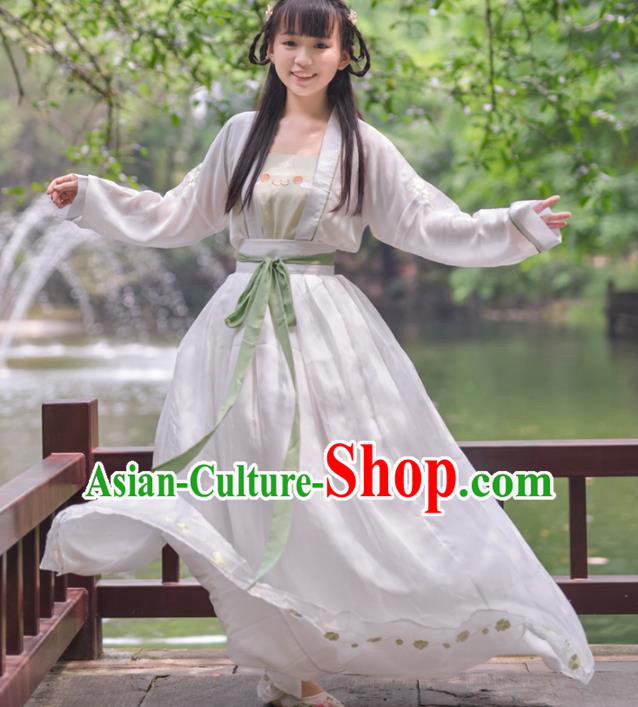 Asian China Song Dynasty Imperial Princess Costume, Chinese Ancient Nobility Lady Embroidered Clothing for Women