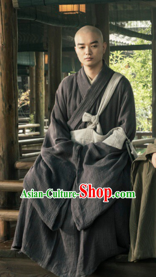 Ancient Chinese Tang Monk Long Robe Clothes Complete Set for Men