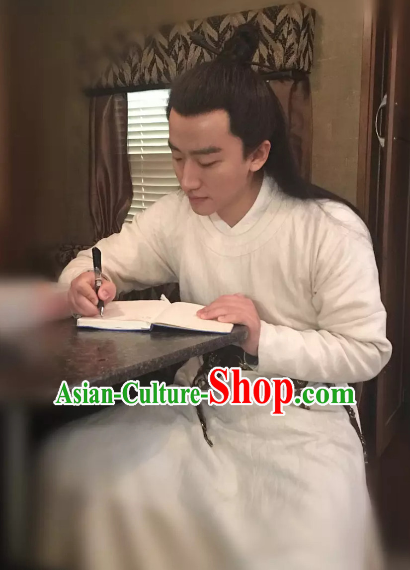 Ancient Chinese Tang Dynasty White Hanfu Clothing Complete Set for Men