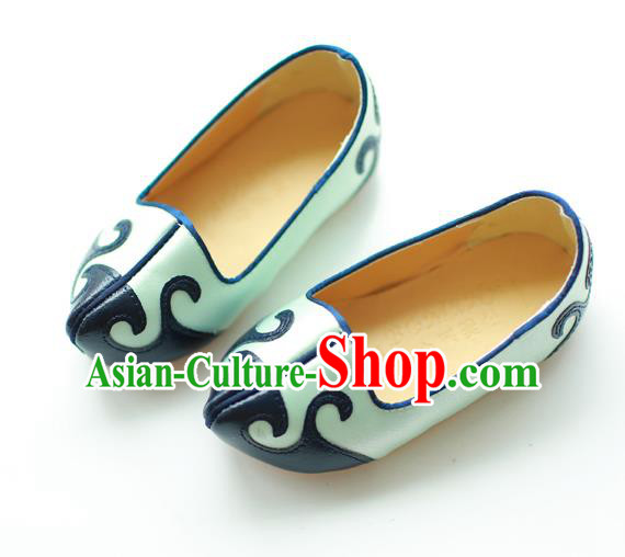 Traditional Korean National Wedding Embroidered Blue Shoes, Asian Korean Hanbok Girls Embroidery Shoes for Kids
