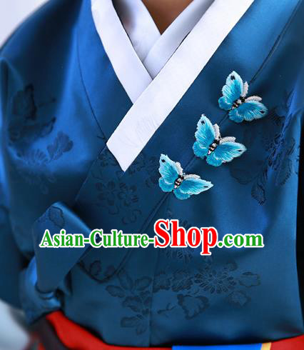 Traditional Korean National Accessories Embroidery Butterfly Brooch, Asian Korean Fashion Hanbok Breastpin for Girls