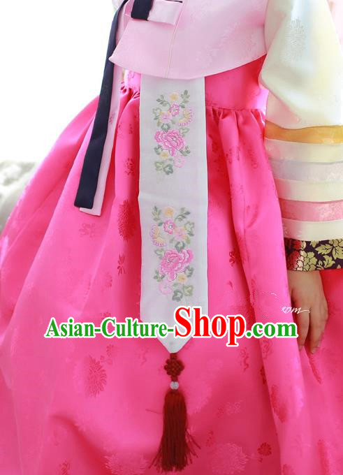 Traditional Korean Accessories Embroidered Peony Waist Pendant, Asian Korean Fashion Wedding Tassel Waist Decorations for Women