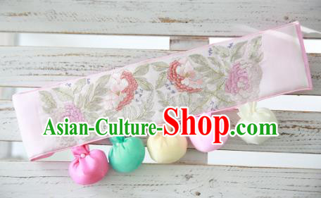 Traditional Korean Accessories Embroidered Flowers Pink Waist Belts, Asian Korean Fashion Hanbok Waistband Decorations for Kids