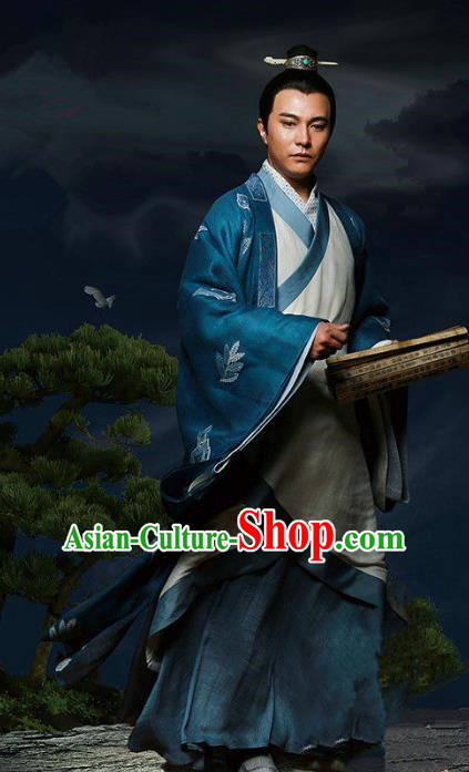 Traditional Chinese Ancient Han Dynasty Royal Highness Costume, Chinese Three Kingdoms Period Prince Hanfu Clothing for Men