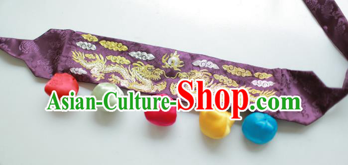 Traditional Korean Accessories Embroidered Dragon Purple Waist Belts, Asian Korean Fashion Waistband Decorations for Kids