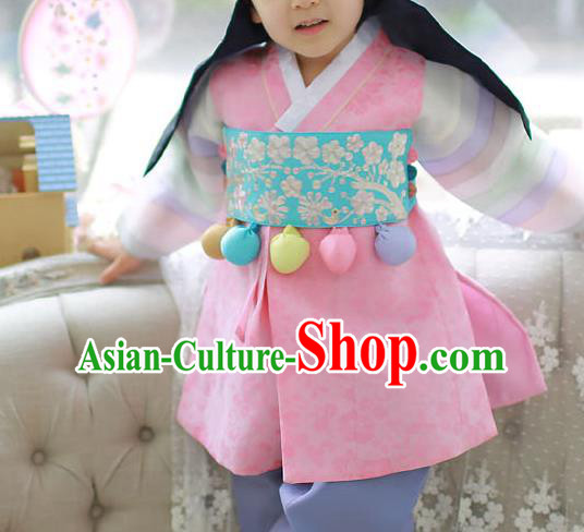 Traditional Korean Accessories Embroidered Blue Waist Belts, Asian Korean Fashion Waistband Decorations for Kids