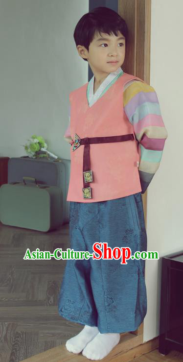 Asian Korean National Handmade Formal Occasions Embroidered Palace Prince Pink Hanbok Costume Complete Set for Boys