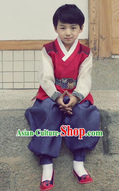 Asian Korean National Handmade Formal Occasions Embroidered Palace Prince Red Hanbok Costume Complete Set for Boys