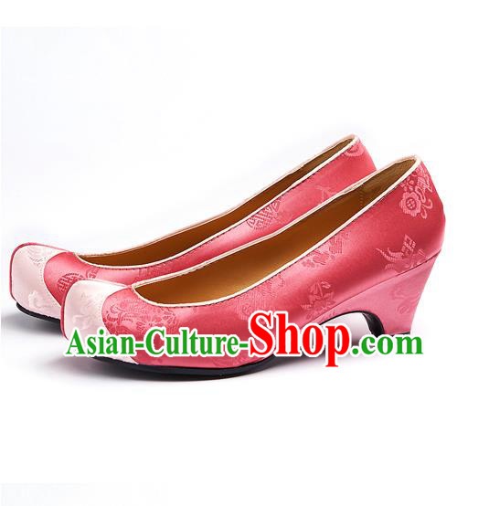 Traditional Korean National Wedding Embroidered Pink Shoes, Asian Korean Hanbok Bride Embroidery Satin Shoes for Women
