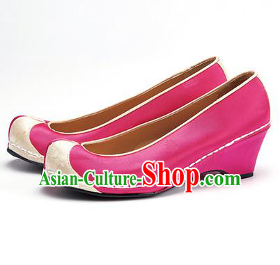 Traditional Korean National Wedding Embroidered Shoes, Asian Korean Hanbok Bride Embroidery Rosy Satin Shoes for Women
